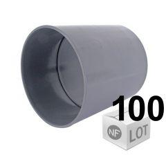 Lot de 100 raccords PVC - Manchon à butée Ø32 ou Ø40 Femelle Femelle pour évacuation FIRST-PLAST