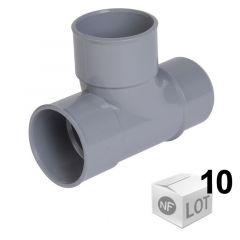 Lot de 10 Tés pied de biche PVC d'évacuation 87°30 - Mâle Femelle Ø32 - Ø40 - Nicoll