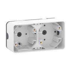 Mureva Styl - Boîte 2 postes horizontaux - montage saillie - IP55 - IK08 - blanc