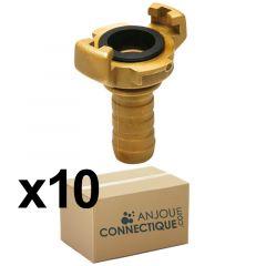 10 Raccords express laiton avec joint NBR - cannelé à collerette Ø 19