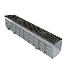 Pack Caniveau PP 130x1000 + grille Fonte C250 -Profondeur 200mm
