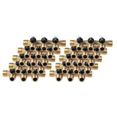 """Lot de 10 Collecteurs mini-vanne M/F 3/4"""" (20/27) - 1/2"""" (15/21)  - 3 piquages M 1/2"""" (15/21)"""