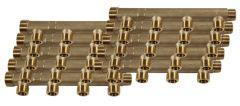 """10 Collecteurs mâle femelle 3/4"""" - 4 départs 1/2"""" (15/21) - Entraxe 50mm - Arcanaute"""