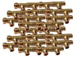 """20 Collecteurs mâle femelle 3/4"""" - 2 départs 1/2"""" (15/21) - Entraxe 50mm - Arcanaute"""