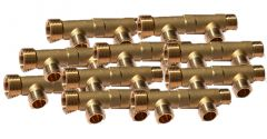 """10 Collecteurs mâle femelle 3/4"""" - 2 départs 1/2"""" (15/21) - Entraxe 50mm - Arcanaute"""
