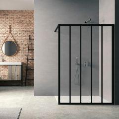 Parois de douche Loft Classic H200 x L90 cm Noir mat / 2 barrettes