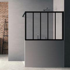 Paroi de douche Loft Wall H 140 x L 200 cm - Noir Mat / 6 barrettes