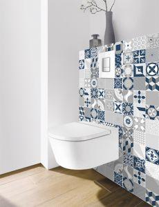 Panneau mural Decofast - Vintage - pour habillage Bâti-support - 1500 x 1200 x 3 mm - Patchwork bleu - Lazer
