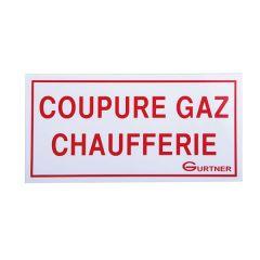 """Plaque signalétique """"Coupure gaz chaufferie"""" - 200x100 mm"""