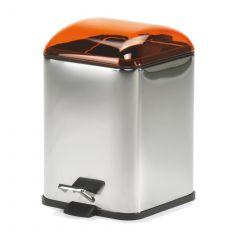 Poubelle avec pédale orange transparent Karta