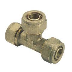 Raccord à compression tube PER Ø12 ou Ø16 ou Ø20 - Té égal - Somatherm