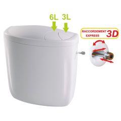 Réservoir wc double débit 3/6L NF alimentation en eau gauche ou droite - Regiplast