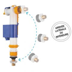 """Robinet flotteur hydraulique à alimentation latérale ou inférieure 3/8"""" (12/17) - Regiplast"""