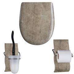 """Pack accessoires WC Set OLFA """"Chêne vielli"""" en descente manuelle"""
