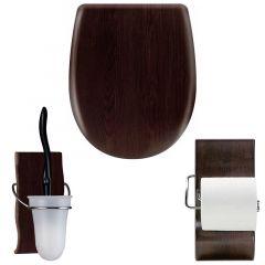 """Pack accessoires WC Set OLFA """"Wengé Mat"""" en descente manuelle"""