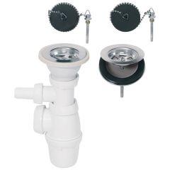 Siphon réglable et bondes à bouchon Ø60 mm pour évier 2 bacs communicants - Wirquin Pro 30720438
