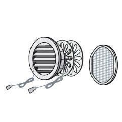 Grille ronde à encastrer, fermeture et moustiquaire - Extérieur Ø150 - Tube Ø125 - First Plast