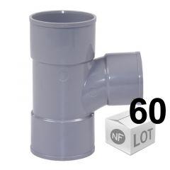 Lot de 60 raccords PVC - Té pied de biche 87°30 Femelle Femelle Ø32 ou Ø40 FIRST-PLAST