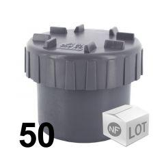 Lot de 50 raccords PVC - Tampons de visite Mâle Ø100 NF ME First Plast