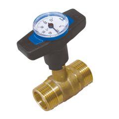 Vanne thermomètre intégré poignée bleue