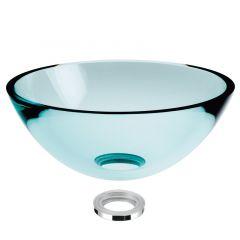 Vasque en verre transparent à poser H14cm - Ø43cm - Ondyna VV14480