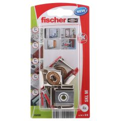 Kit de 4 chevilles Duopower 6x30 + vis + pince miroir pour fixation miroir - Fischer