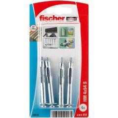 Blister de 4 chevilles métalliques HM pour plaque de plâtre avec vis Ø4x54 mm - Fischer