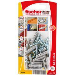 Blister de 20 chevilles à expansion SX 5x25 + vis 3,5x35 - Fischer