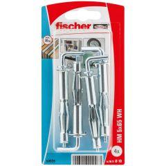 Blister de 4 chevilles métalliques HM pour plaque de plâtre Ø5x65 + crochet droit - Fischer