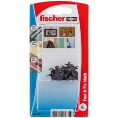 Blister de 8 crochets fix-cadres noirs pour fixation sans outil sur plaques - Fischer