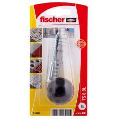 Kit de fixation butée de porte noire - Fischer