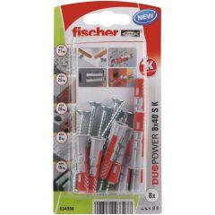 8 Chevilles tous matériaux fischer DUOPOWER 8x40 S - Fischer