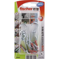 8 Chevilles tous matériaux fischer DUOPOWER Ø5x25 RH - Fischer