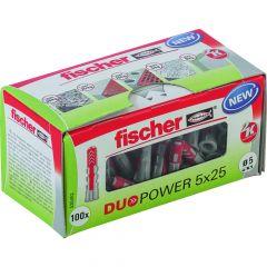 100 Chevilles bi-matière DUOPOWER Ø5 x 25 sans vis, boîte à fenêtre - Fischer