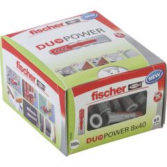 100 Chevilles bi-matière DUOPOWER Ø8 x 40 sans vis, boîte à fenêtre - Fischer