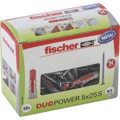 50 Chevilles bi-matière DUOPOWER Ø5 x 25 S avec vis, boîte à fenêtre - Fischer