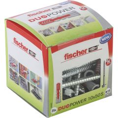 25 Chevilles bi-matière DUOPOWER Ø10 x 50 S avec vis, boîte à fenêtre - Fischer