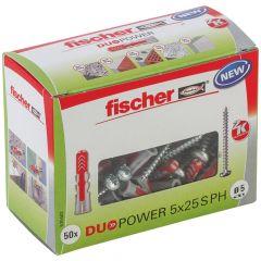 Boîte de 50 chevilles universelle Duopower Ø5x25 mm + vis à tête ronde Ø3,5 mm - Fischer