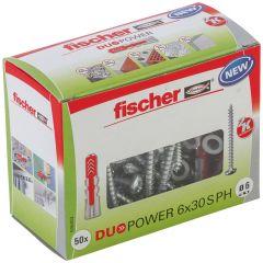 Boîte de 50 chevilles universelle Duopower Ø6x30 + vis à tête ronde Ø4,5x40 mm - Fischer