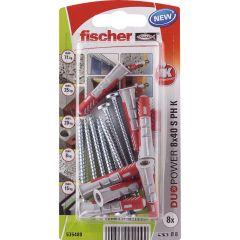 8 Chevilles tous matériaux fischer DUOPOWER Ø8x40 S PH - Fischer
