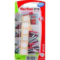 Kit de 12 chevilles Duopower 6x30 + vis + cache pour fixation étagères - Fischer