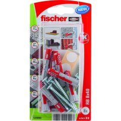 Kit de 8 chevilles Duopower 8x40 + vis + cache pour fixation étagères - Fischer