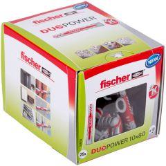 Boîte de 25 chevilles universelle Duopower Ø10x80 mm - Fischer