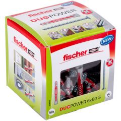 Boîte de 50 chevilles universelle Duopower Ø6x50 + vis à tête fraisée Ø4,5x60 mm - Fischer