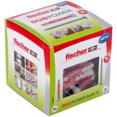 Boîte de 25 chevilles universelle Duopower Ø8x65 mm + vis à tête fraisée Ø5x80 mm - Fischer
