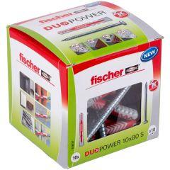 Boîte de 10 chevilles universelle Duopower Ø10x80 + tirefonds Ø7x107 mm - Fischer