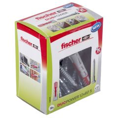 10 Chevilles bi-matière DUOPOWER Ø12 x 60 S avec vis, boîte à fenêtre - Fischer