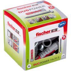 Boîte de 8 chevilles universelle Duopower Ø14x70 mm + tirefonds Ø10x95 mm - Fischer