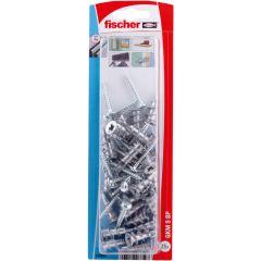 Blister de 25 chevilles métalliques auto-foreuses GKM pour plaque + vis tête ronde 4,5x35 - Fischer