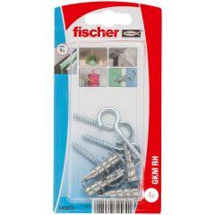 Blister de 4 chevilles métalliques auto-foreuses GKM pour plaque + crochets ronds - Fischer